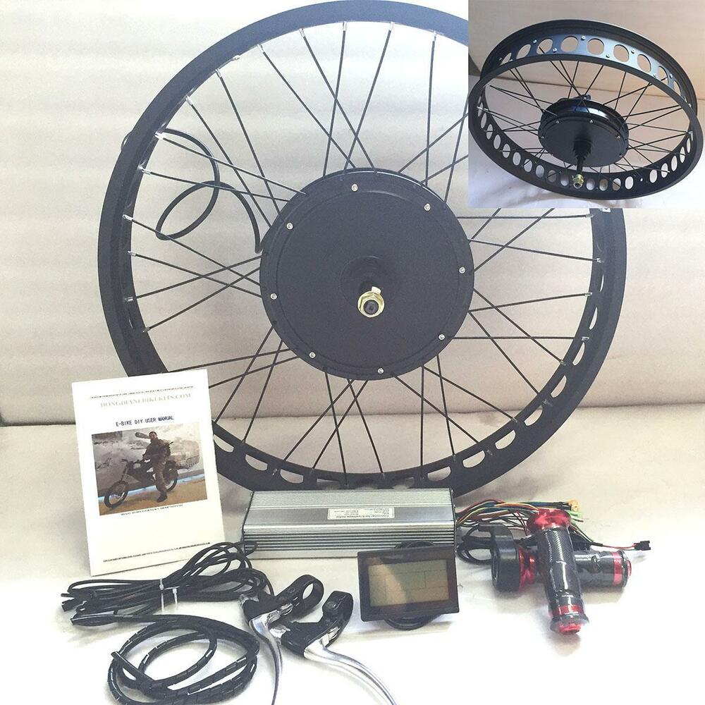 Lcd 72v3000w 26 4 0 fat rim electric bicycle e bike for Fat bike front hub motor