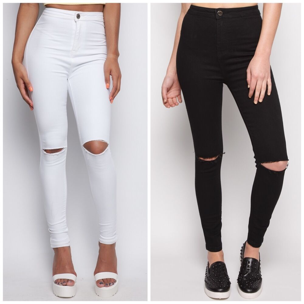 New Womens Ladies WHITE BLACK Slim Fit Skinny Denim Rip Knee Jeans