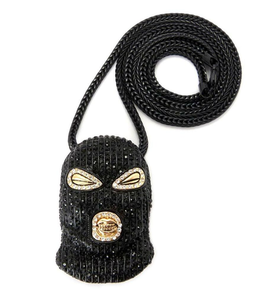 Mens Iced Out Goon Ski Mask Plies Rick Ross Chain Necklace