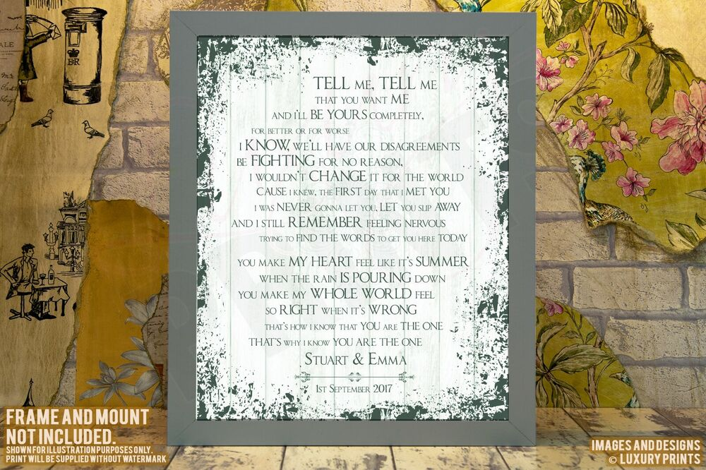 Kodaline The One Lyrics Print Wedding Song Personalised Canvas Gift ...