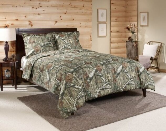 Queen Camo Comforter Set Mossy Oak Bedding Hunting Lodge