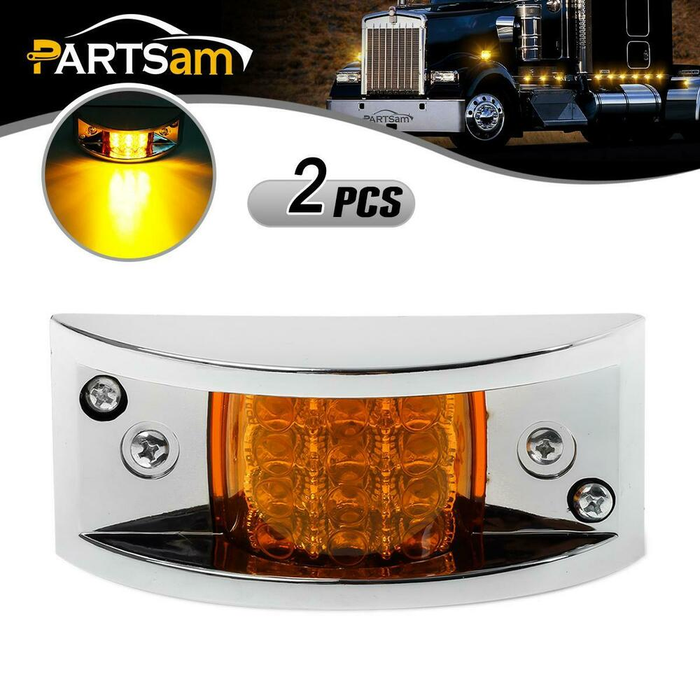 2 Truck Trailer Amber 12 LED Curve Led MarkerClearance Lights