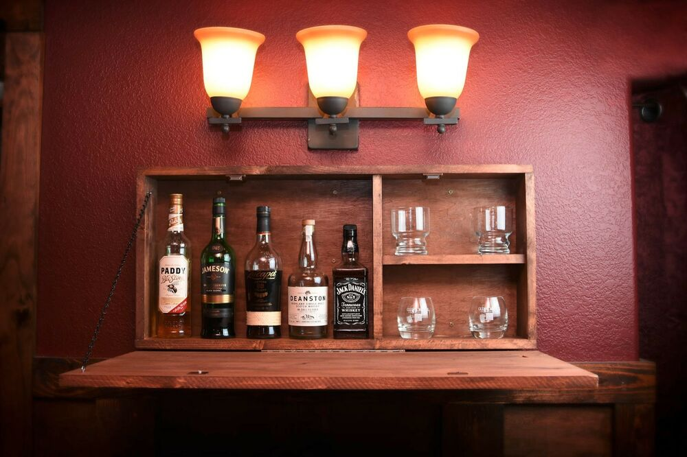 rustic wooden murphy bar liquor cabinet wall 86919