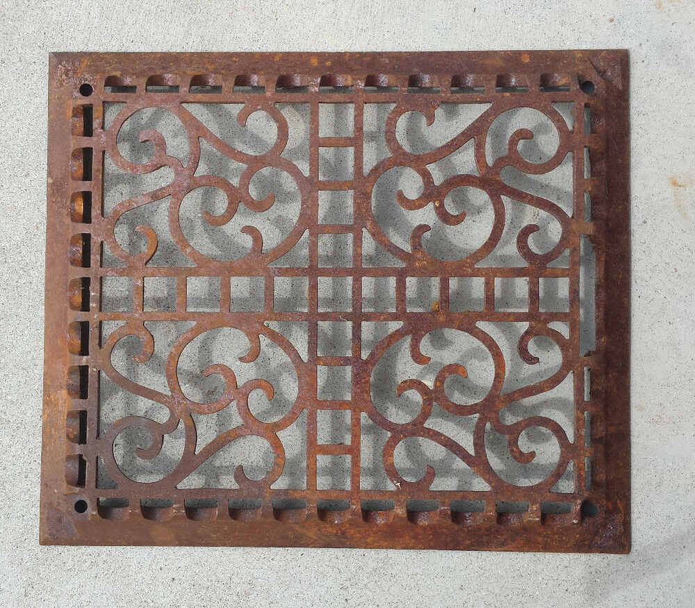 Antique Scrollimgs: Antique Cast Iron Floor Furnace Grate Decorative Scroll