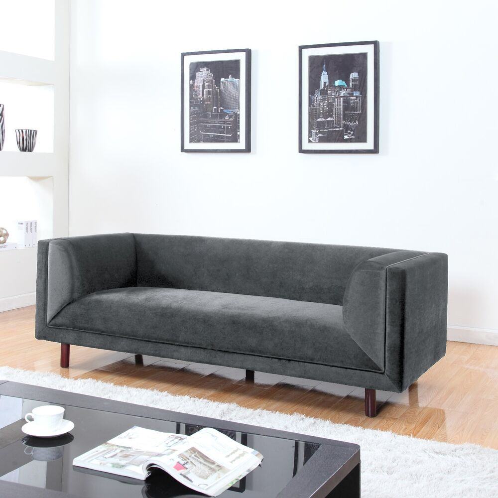 Modern Contemporary Large 3 Seater Grey Velvet Sofa
