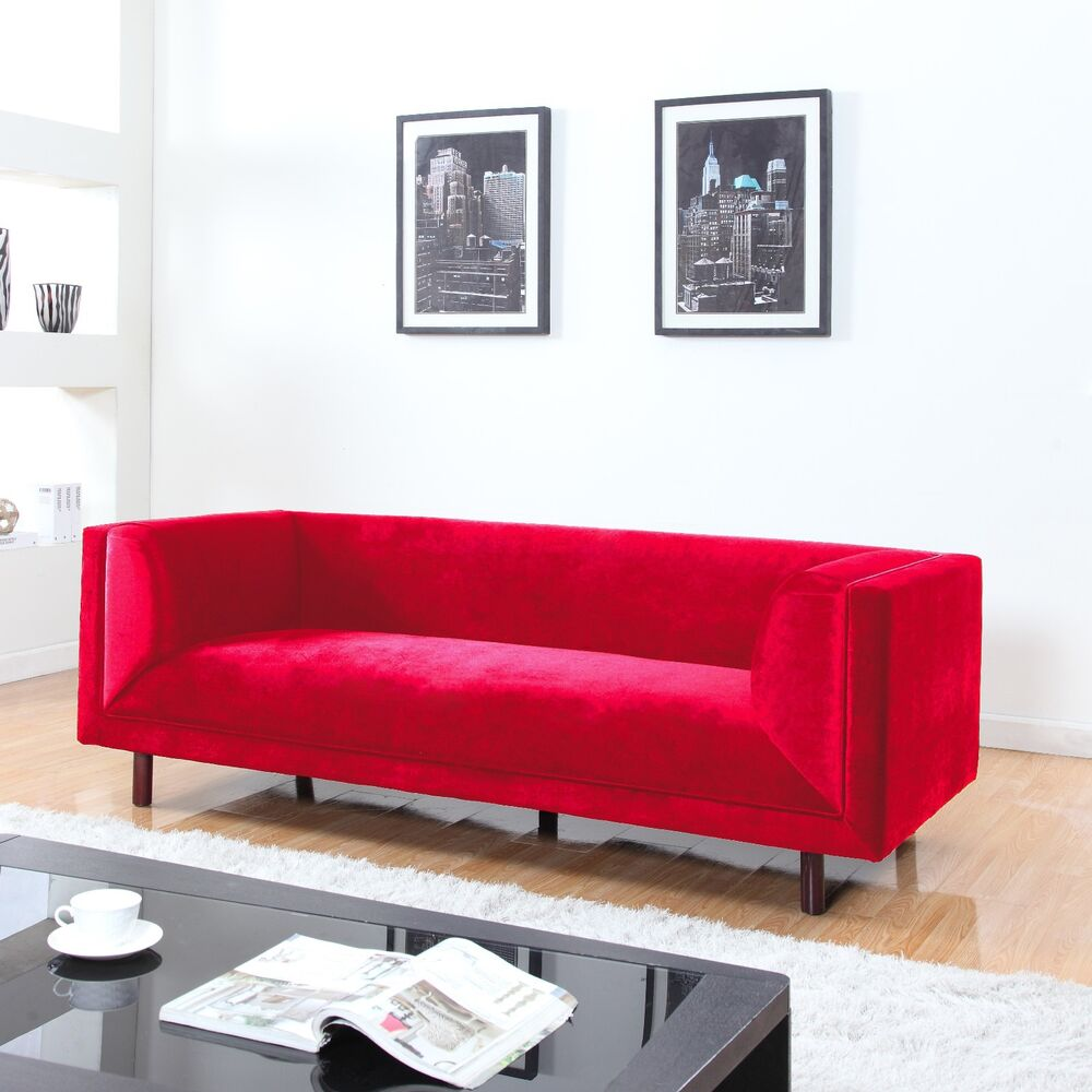 Modern Contemporary Large 3 Seater Red Velvet Sofa