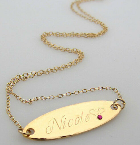 oval name plate pendant in 14k gold filled  personalized engraved necklace gift