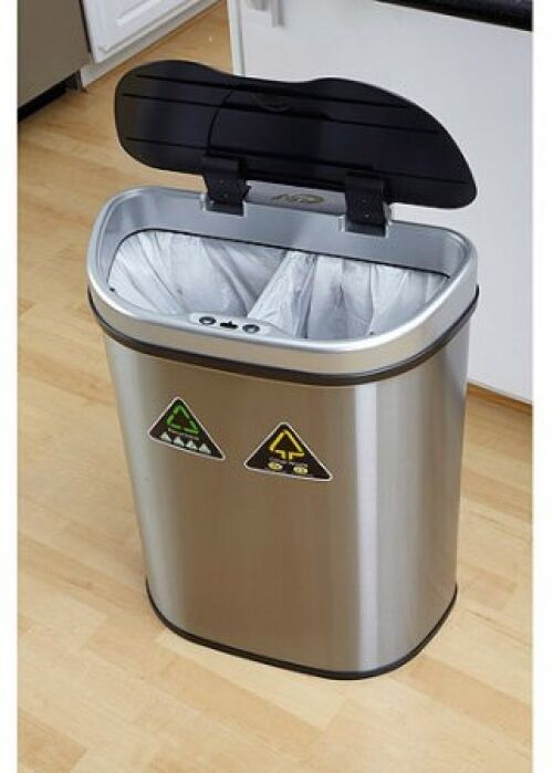 automatic trash can recycle bin combo touchless lid stainless steel 18 5 gallon ebay. Black Bedroom Furniture Sets. Home Design Ideas