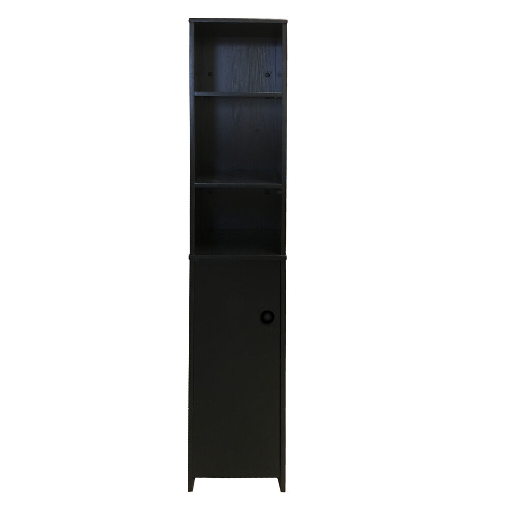 Black Tall Bathroom Cabinet Cupboard Bedroom Storage Unit