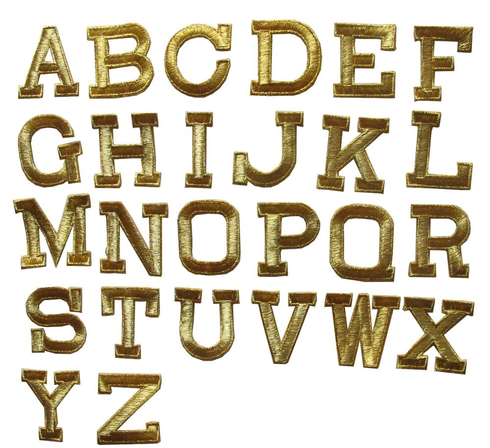 Letter quot gold letters embroidery iron on applique