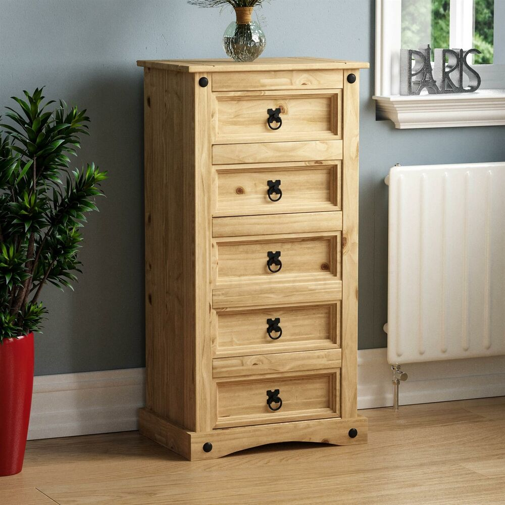 corona 5 drawer narrow chest mexican solid waxed pine