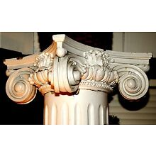 Columns, Pr, architectural, Colonial Revival, fluted, oak capital, c1900 7' tall