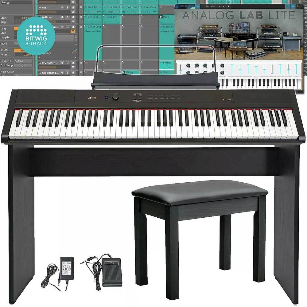 v2 artesia pa88h weighted 88 key electronic digital piano keyboard deluxe bundle ebay. Black Bedroom Furniture Sets. Home Design Ideas