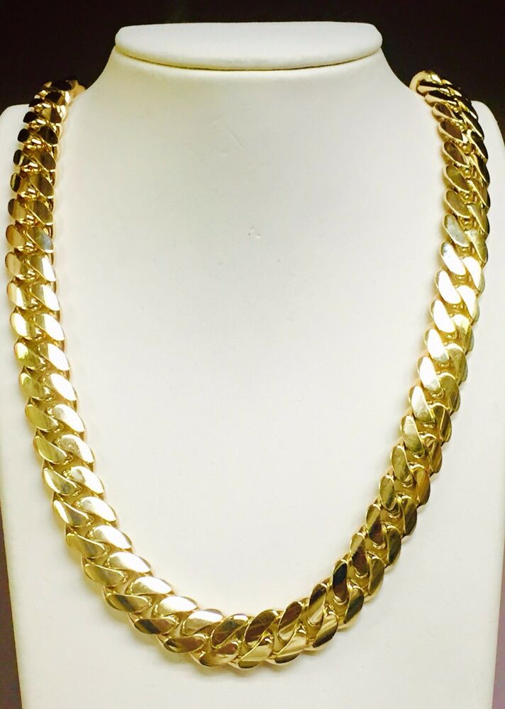 14k solid gold handmade miami cuban curb link 14k solid gold miami cuban curb link 24 quot 13 5 mm 300 grams
