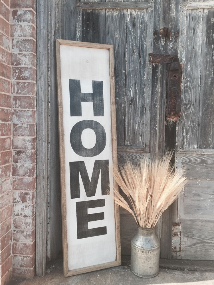 """Large Rustic Wood Sign - """"Home"""" Vertical - Over 4 Feet ..."""