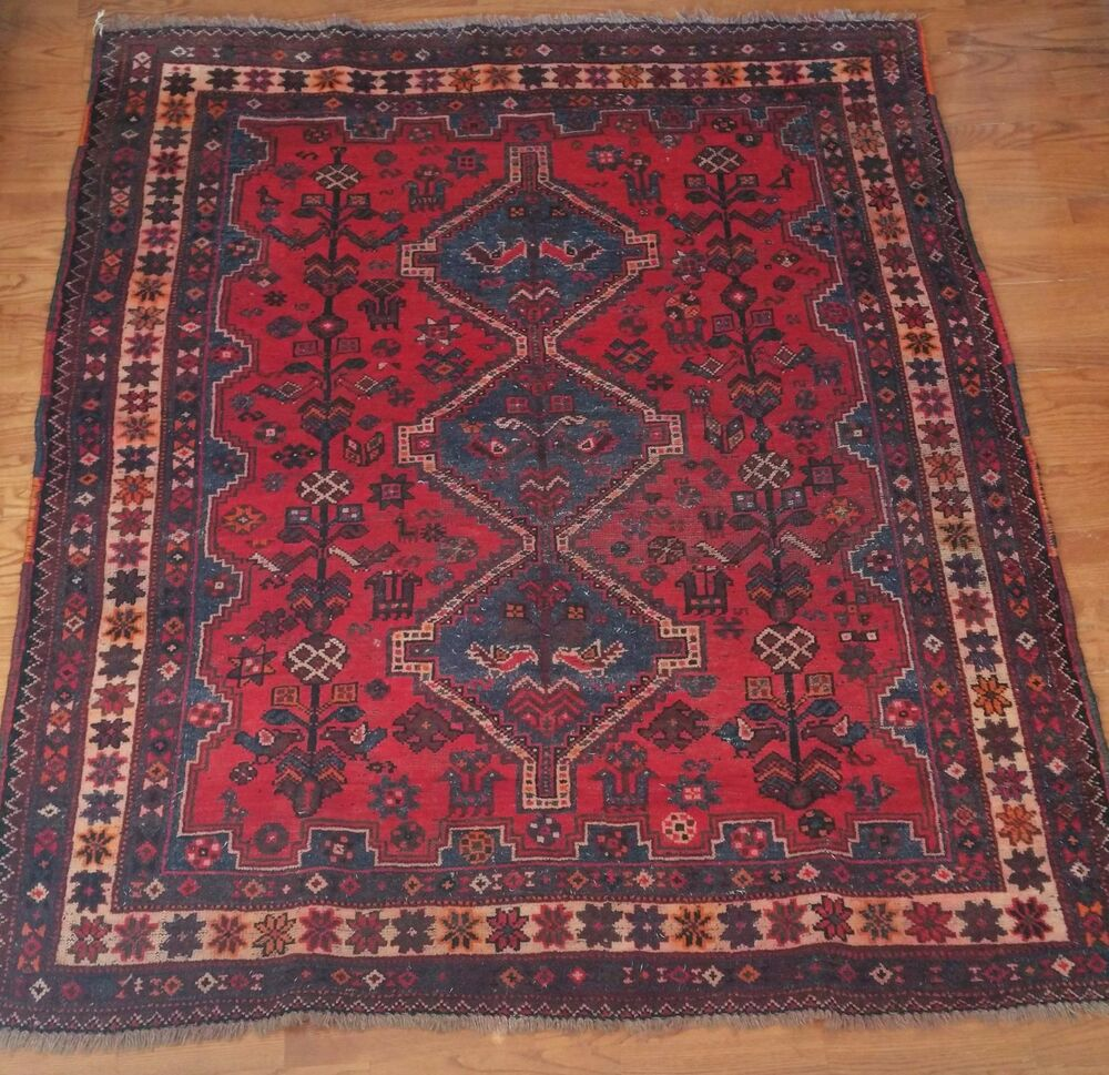 Hand Knotted Persian Isfahan Wool Area Rug: 5' X 6' Vintage Kazak Persian Oriental Wool Hand Knotted