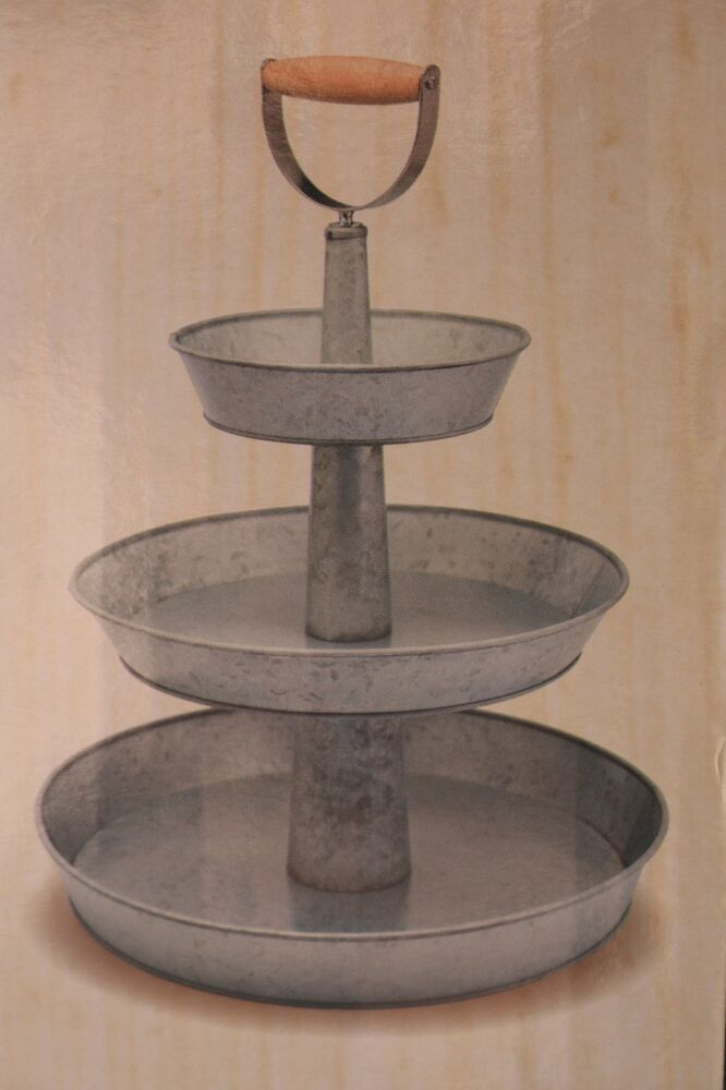 galvanized three tier server stand 3 tray round wood handle food safe tray new ebay. Black Bedroom Furniture Sets. Home Design Ideas