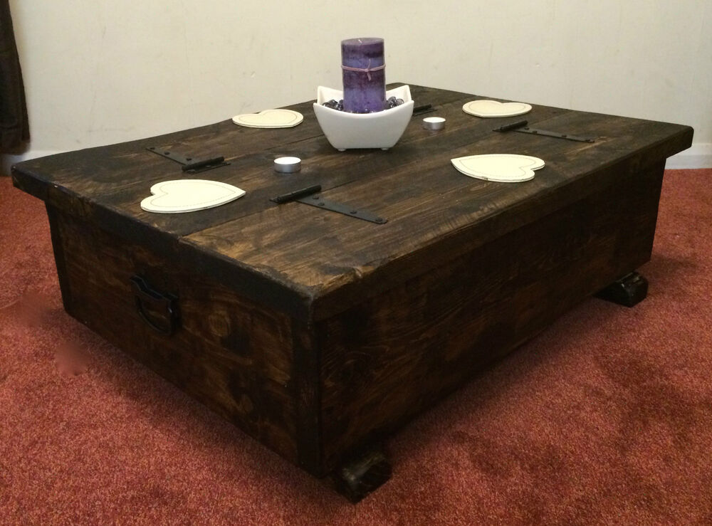 Coffee Table Storage Box Wooden Plank Rustic Blanket Chest Toy Chunky Sleeper Ebay