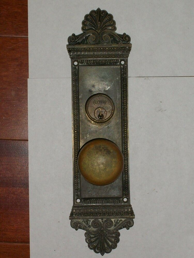 Antique Entry Cylinder Style Door Knob Backplate Ebay