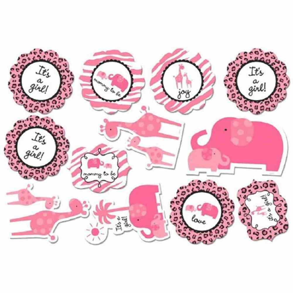 Sweet safari girl pink animal print cute baby shower party for Baby shower decoration cutouts