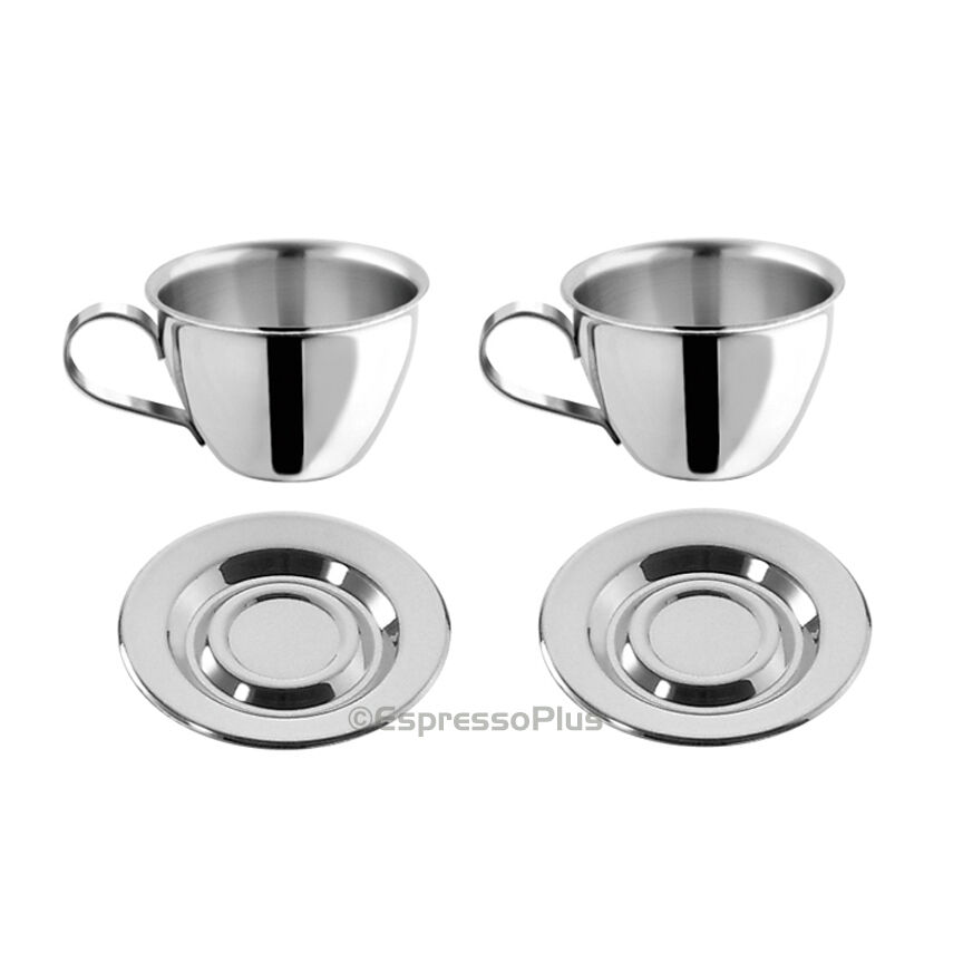 Motta Stainless Steel Espresso Cups And Saucers Set Of 2