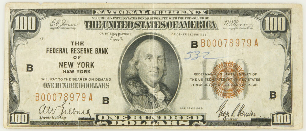 Details About 1929 100 Bill National Currency Federal Reserve Bank Of New York