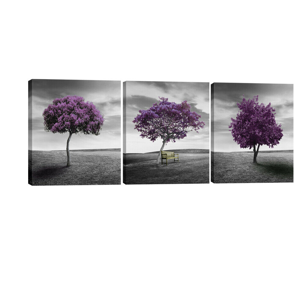 canvas print picture painting home decor wall art landscape purple trees framed ebay. Black Bedroom Furniture Sets. Home Design Ideas