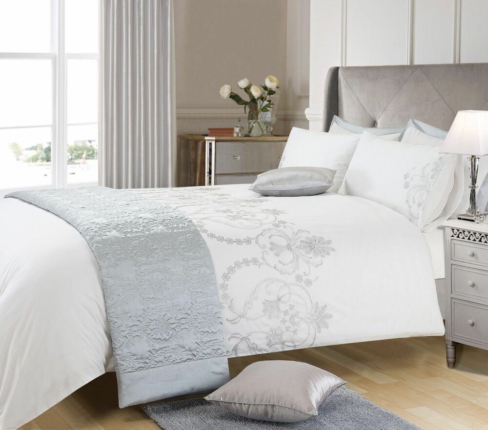 white silver colour stylish embriodery duvet cover luxury beautiful bedding ebay. Black Bedroom Furniture Sets. Home Design Ideas