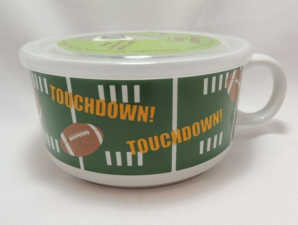 Steam From Soup ~ Football touchdown microwave souper soup coffee mug bowl