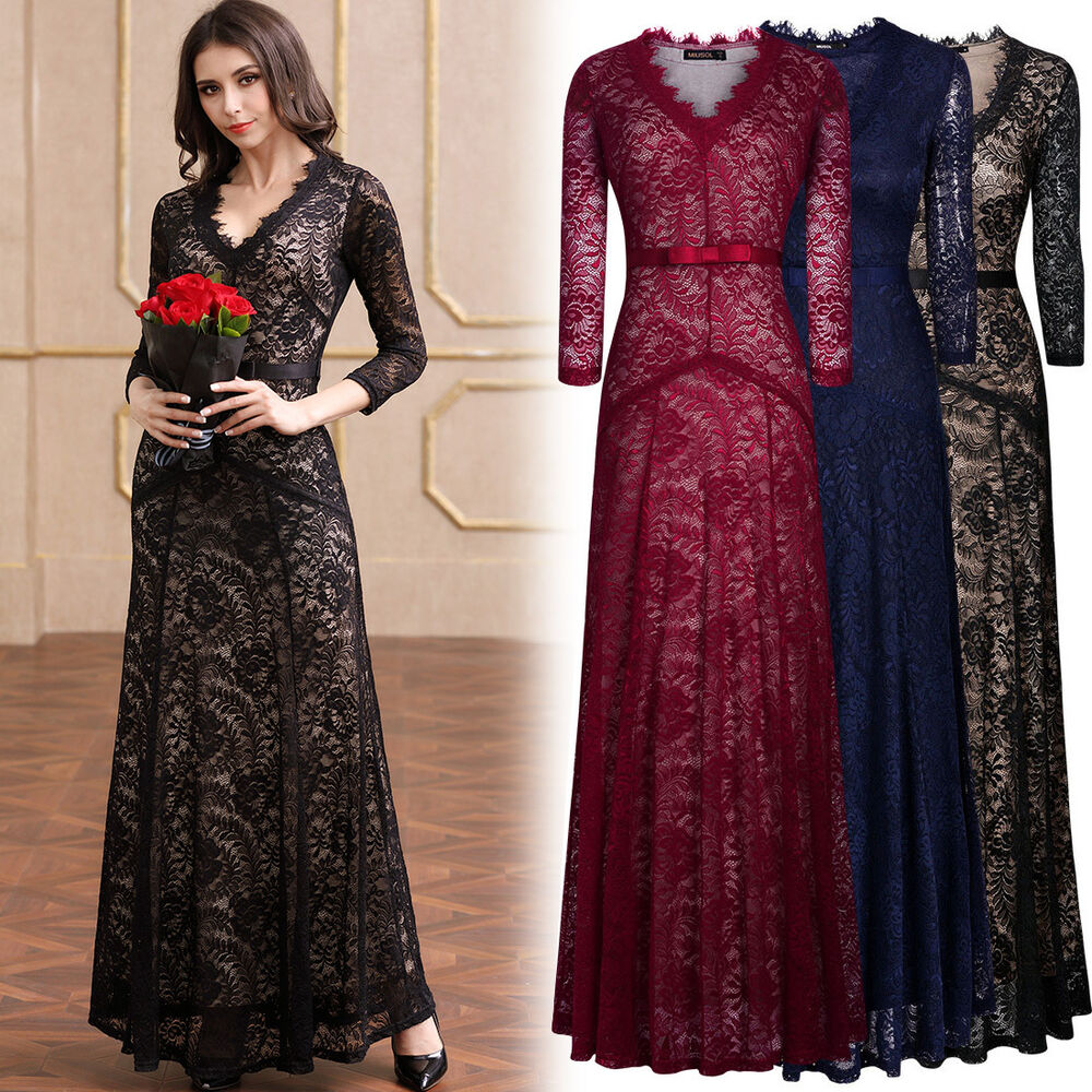 Women 39 s formal cocktail evening party floral lace wedding for Formal long dresses for weddings