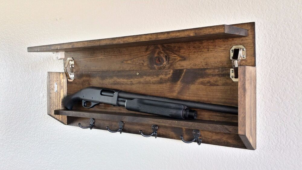 Rustic Wood Coat Rack Hidden Storage Shotgun Compartment ...