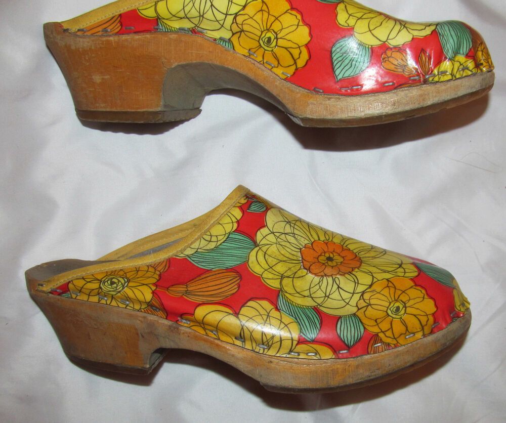 Vintage 70u0026#39;s Hippie FLOWER POWER Floral Leather With Wooden Platform Clogs Shoes | EBay