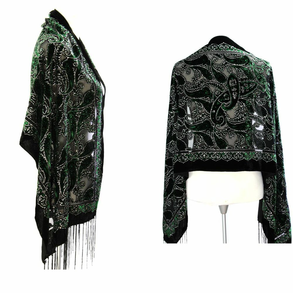 Elegant Black Peridot Color Silk Burnout Velvet Floral Fringed Scarf Shawl Wrap Ebay