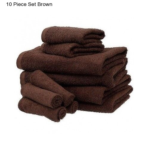 Hand Towels Bathroom: New Brown Cotton 10 Piece Bath Towel Set Washcloth Bathing