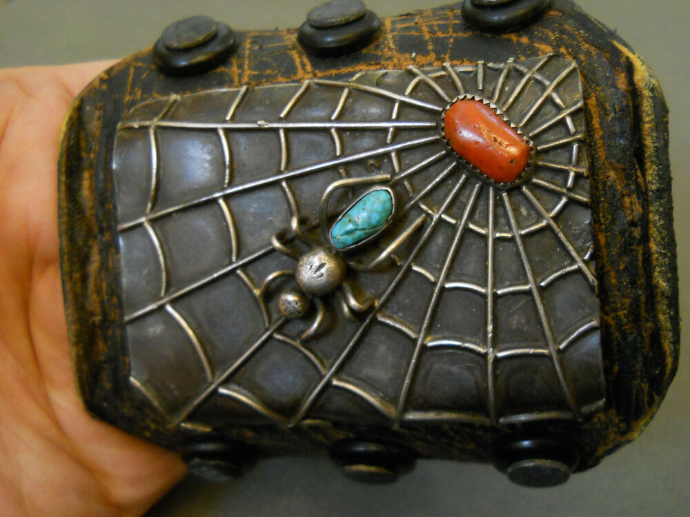 Turquoise Coral Sterling Silver Spider Ketoh Bow Gaurd