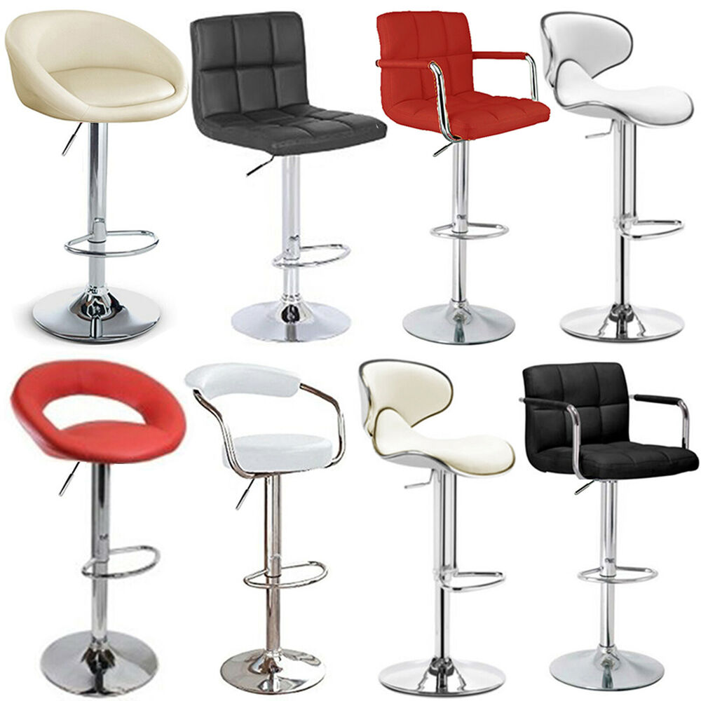 Upholstered Bar Stool Ridged Leg Stools With Backs And: PU Leather Breakfast Bar Stool Swivel Kitchen Chrome Metal