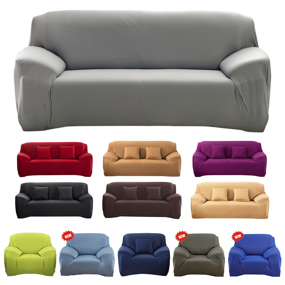 sofa couch slip over easy fit stretch covers elastic fabric fit settee protector ebay. Black Bedroom Furniture Sets. Home Design Ideas