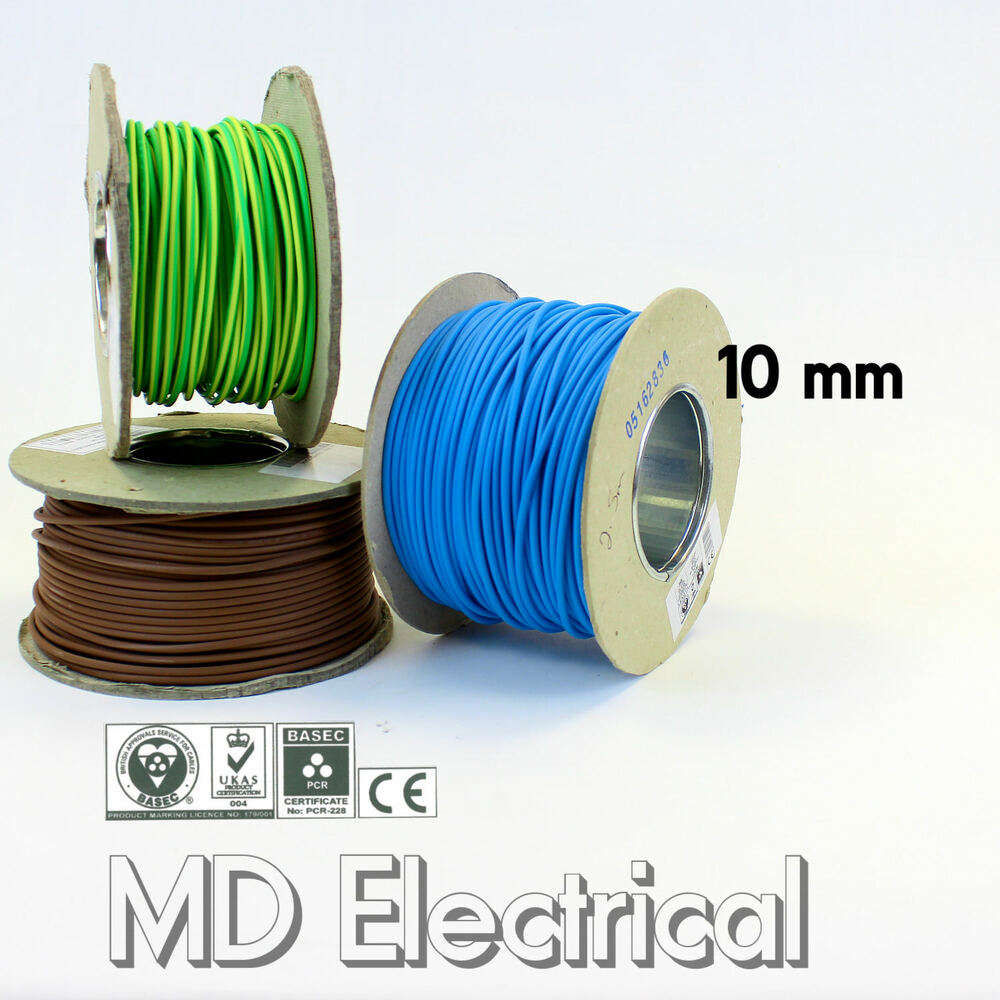 Geen Amp Yellow Single Core Cable : Mm single core conduit cable blue brown earth