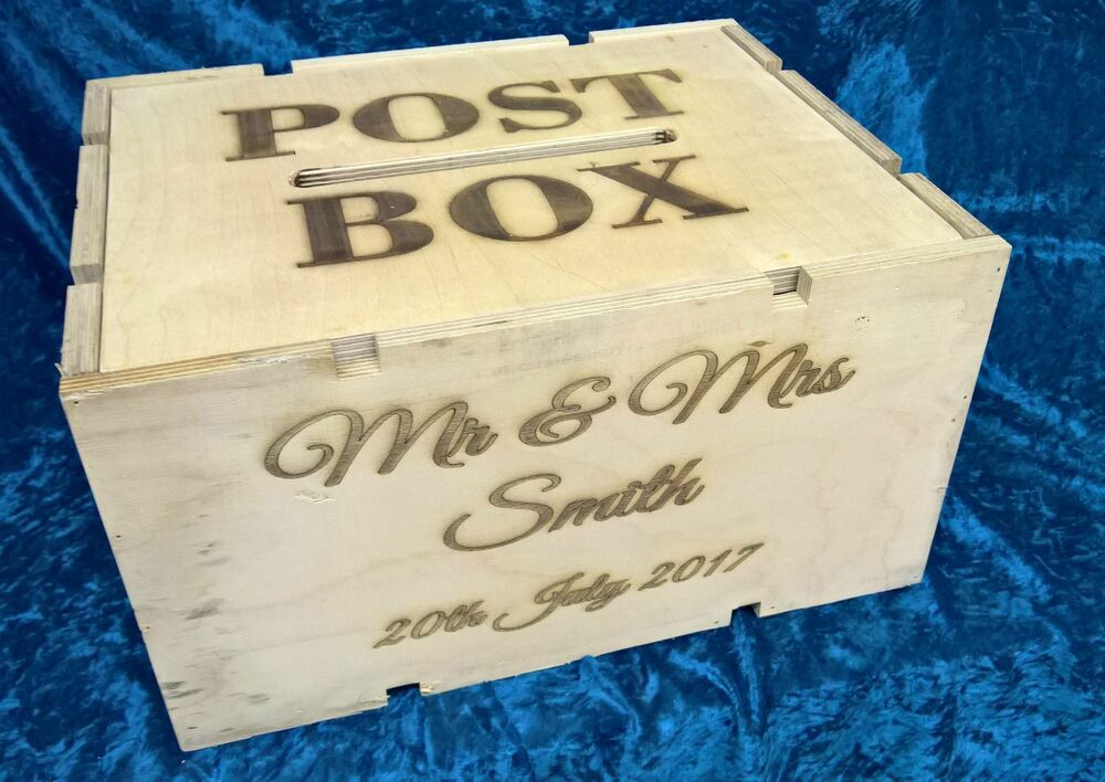 Wedding Gift Post Box: Personalised Wedding Post Box Engraved Rustic Wooden