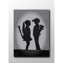 ACEO Banksy Girl Meets Boy Graffiti Street Art Canvas Giclee Print