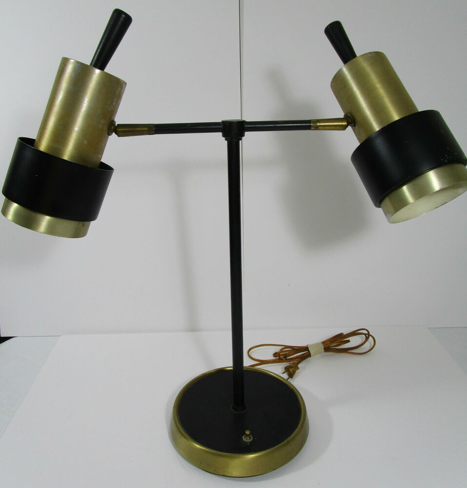 Mid Century Modern Desk Table Lamp Double Tube Shaped