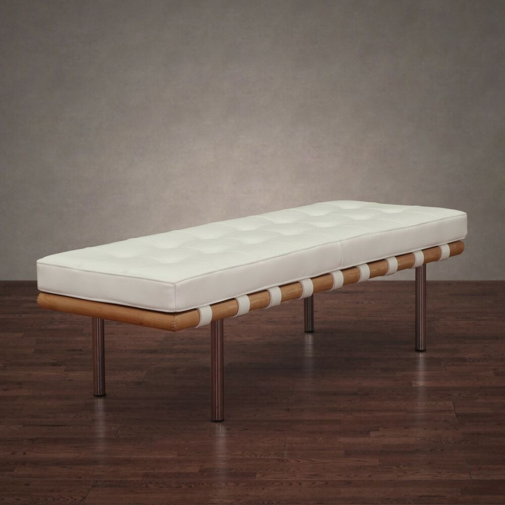 Foyer Bench Modern : Contemporary bench white leather cushion entryway hallway