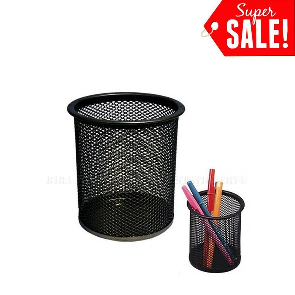 Desk Organizer Metal Black Mesh Design Pen Pencil Eraser