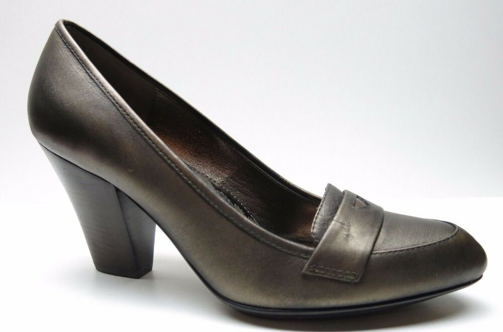 e62d0f32dab Details about Sofft Bronze Leather Classic High Heel Penny Loafer Dress  Pumps 10M 10 MSRP  119