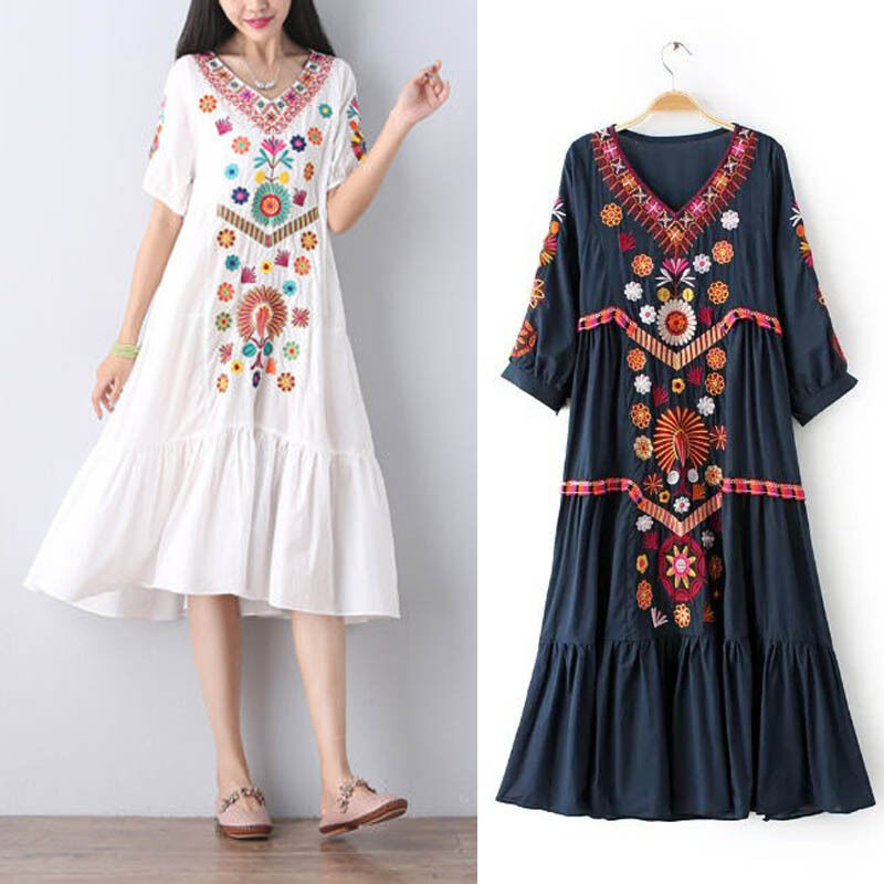 White Women Vintage Ethnic Mexican Embroidered Spliced ...