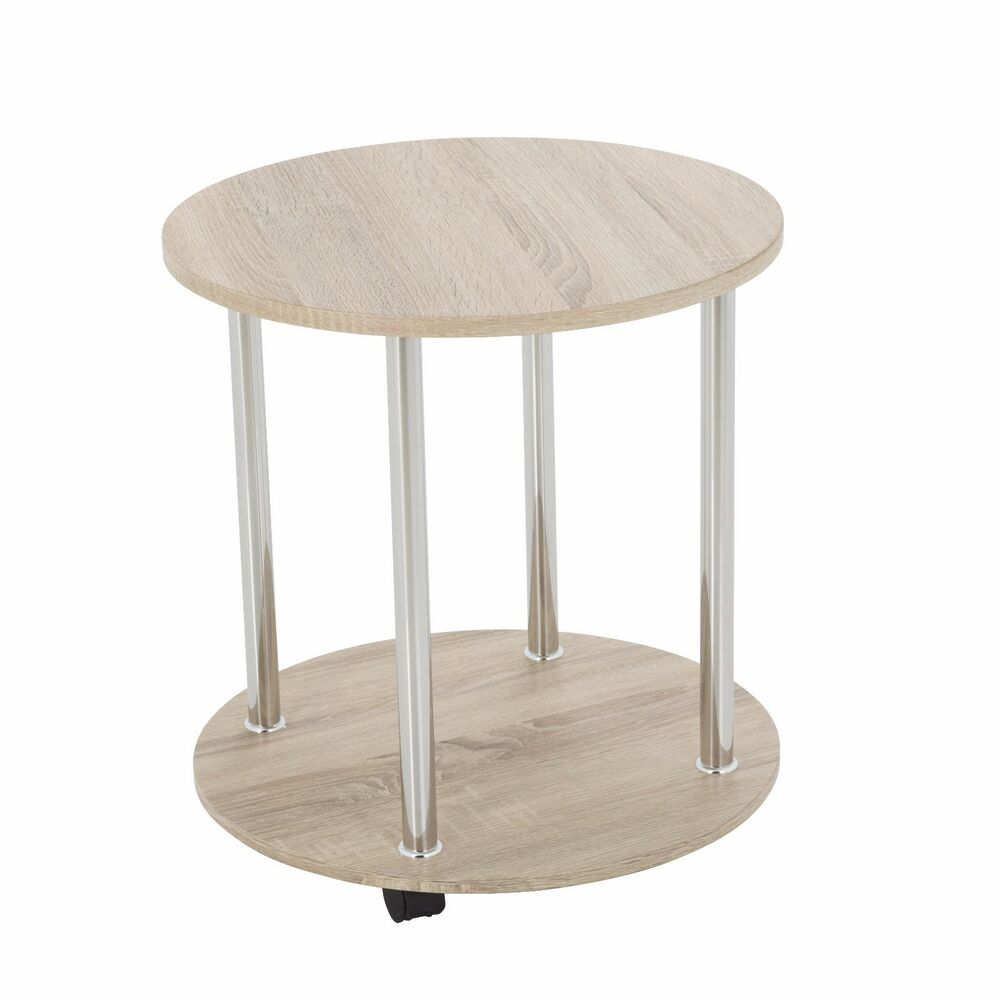 Oak Effect Round Side Table Coffee Lamp Laptop Table With Wheels Ebay