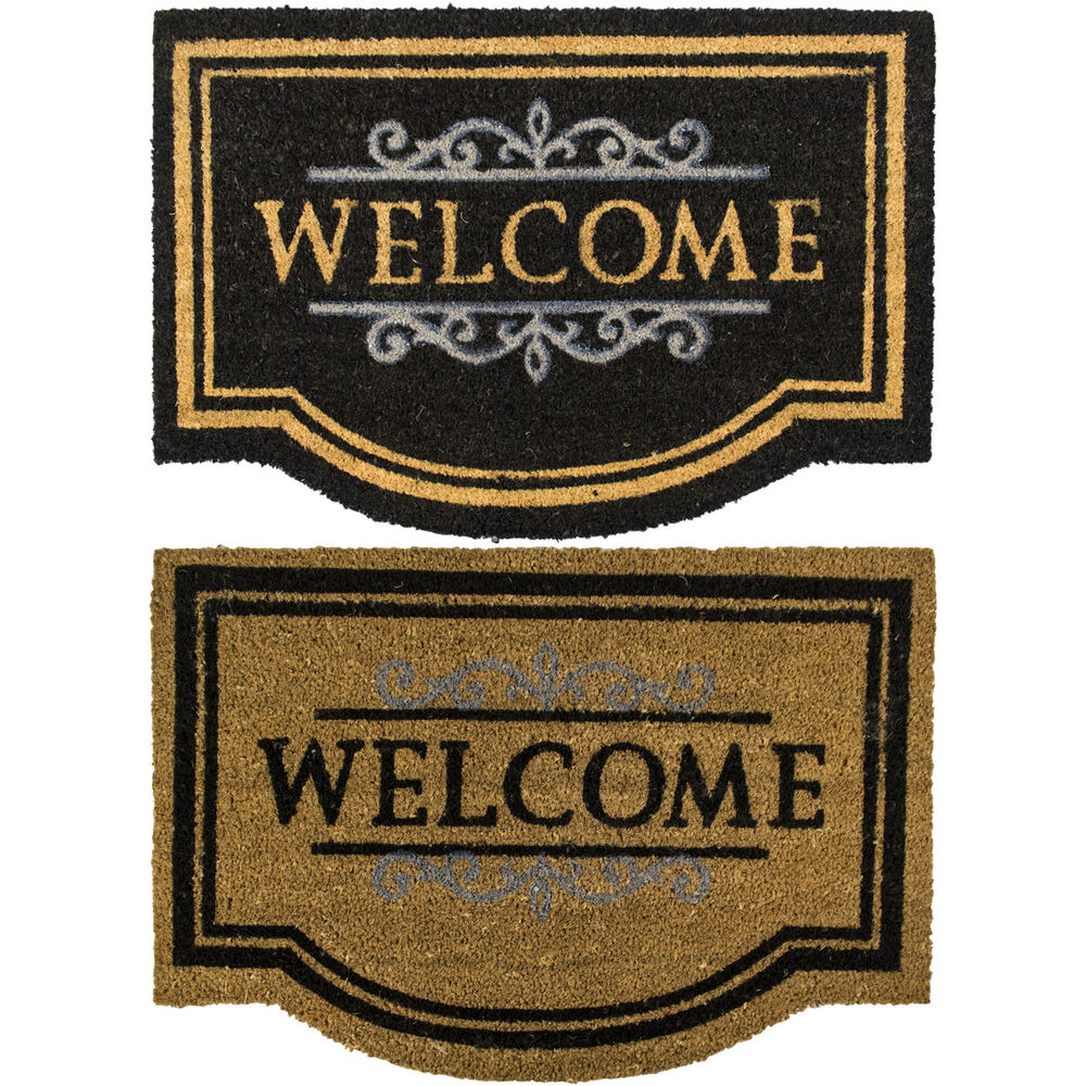 large natural coir welcome doormats outdoor front door rubber bottom