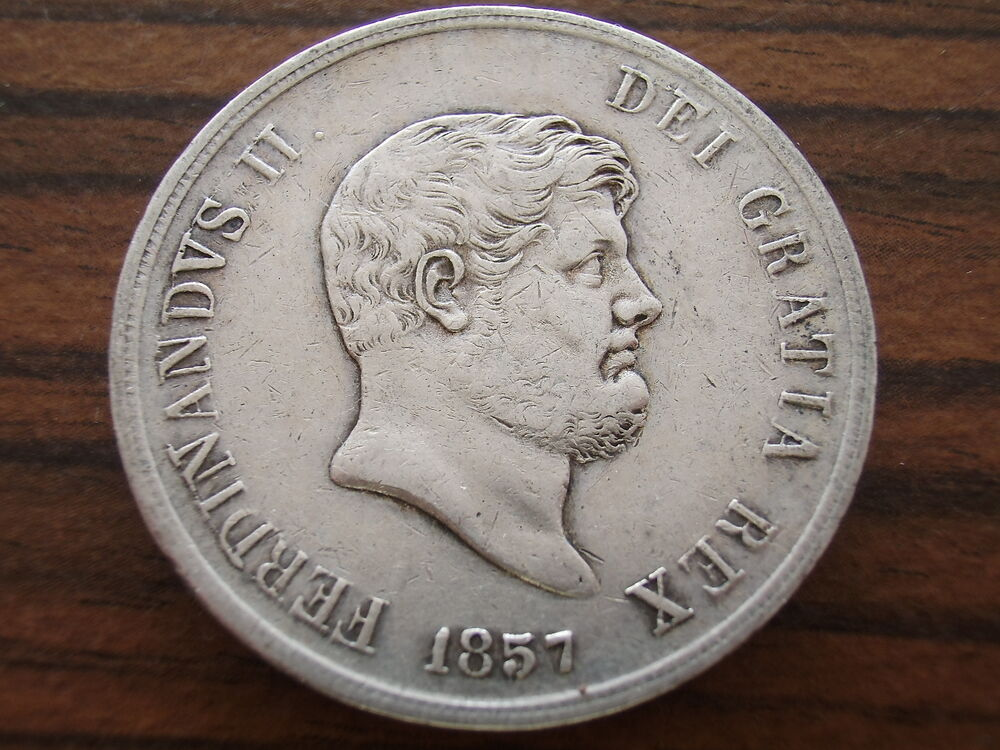 Details about  ITALIAN STATES: NAPLES 1857 SILVER 120 GRANA. High Grade!!!
