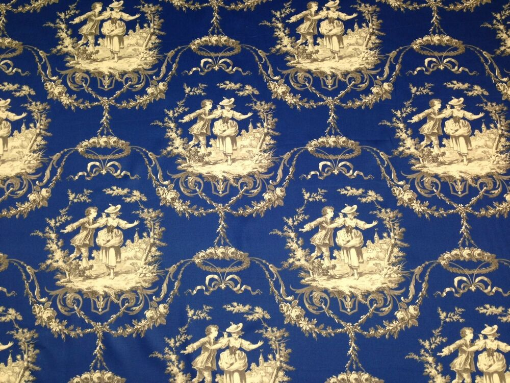 richloom sweet william royal blue toile cotton multiuse fabric by the yard 54 w ebay. Black Bedroom Furniture Sets. Home Design Ideas