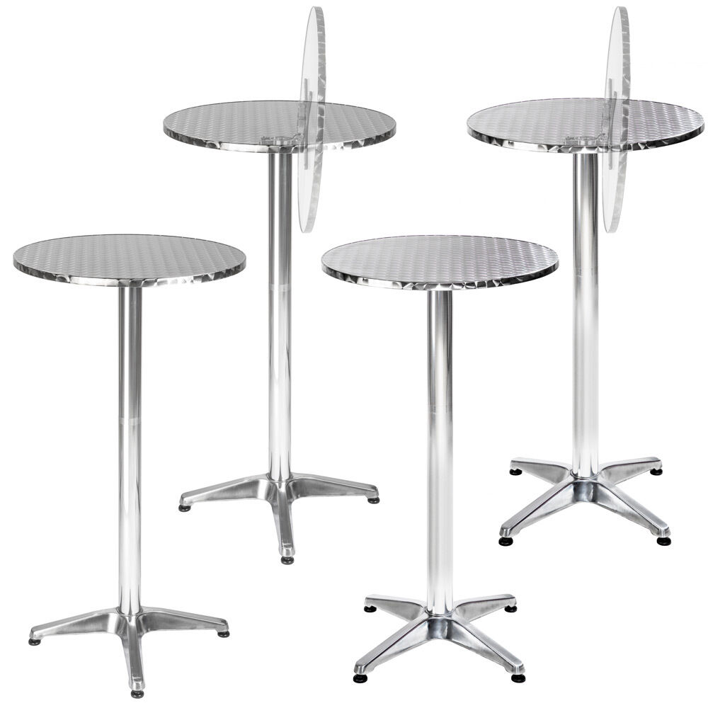 table haute de bar aluminium bistrot restaurant jardin 60cm hauteur r glable ebay. Black Bedroom Furniture Sets. Home Design Ideas